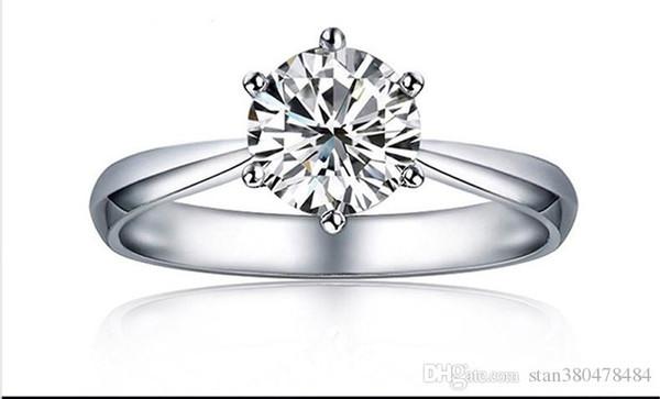 Luxury boutique six-claw diamond ring Austrian crystal zircon simple zirconium diamond ring Female Christmas gift Ladies classic jewelry