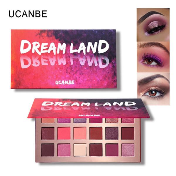 Ucanbe marka makyaj pırıltılı mat dreamland göz farı paleti 18 renkler şeftali çiçeği pigmentli gözler gölge uzun ömürlü mermaid kozmetik