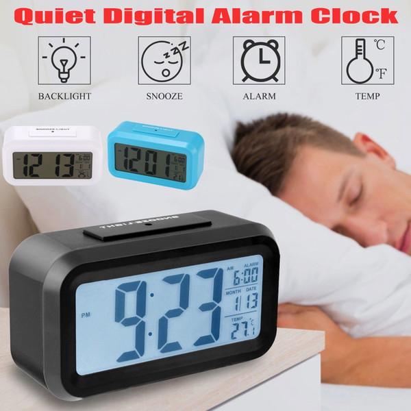 Ucuz Alarmın s Pil Sensör Ofis Masa Dijital Çalar Saat Öğrenci Saat Geniş LCD Ekran Erteleme Sıcaklık Çocuk Saat Işık