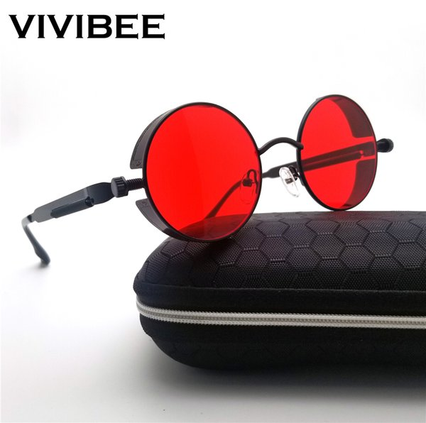 Vintage Women Round Punk Sunglasses Alloy Metal Hip pop Red Glasses Women Fashion 2019 Steampunk Goggles Men Gothic Style Shades