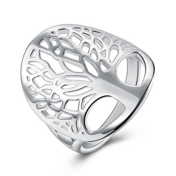 Beautiful silver tree of life ring hollow fashion unique novelty brand design women lady gift men unisex cute gift