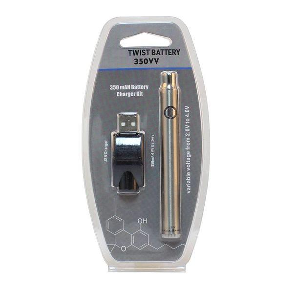 Vorheizen des Battery Twist VV 350mAh Ladegerätsatz mit variabler Spannung und Vape Pen Blister
