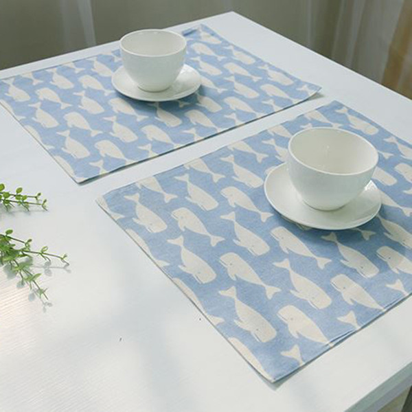 1 piece 3 colors whale print placemat home decoration table high quality tablecloth cushion coaster accessories