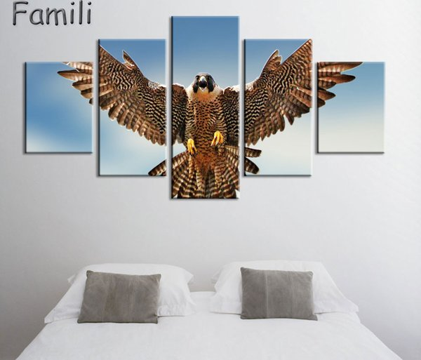 top popular 5 Pcs set Modern Still Life Unframed HD Print Canvas Painting gulls birds flying flapping Wall Art Picture Bar Cafe Home Decoration 2021