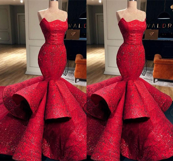 Chegada nova Red Mermaid Sweetheart Satin Formal Evening Dresses 2019 Lace Sequins Long Prom Dresses Pageant Vestidos BC0888