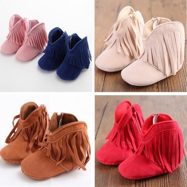 Baby Girl Shoes Borla Criança Primeiros Caminhantes Lado Zipper Anti-slip Infantil Botas Sólida Recém-nascido Mocassim Crianças Sapatos 6 Cores Atacado YW3319