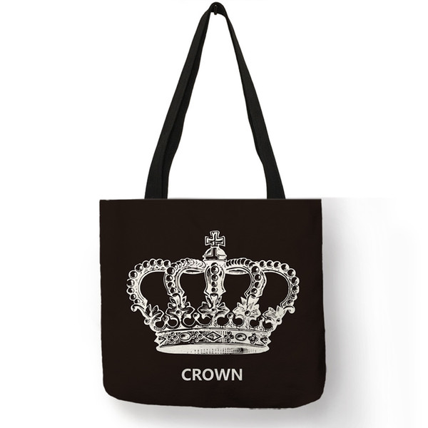 Classic Black Color Linen Lady Handbag Footprint Diamond Cross Crown Heart Letter Printed Tote Bag Practical Multi Function Bags