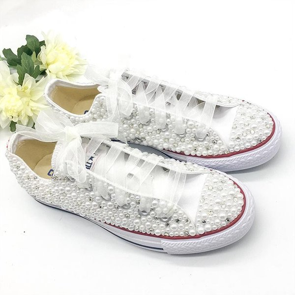 Downton Handmade Crystals Pearls Wedding Shoes Sneakers Bridal flat Shoe Canvas plimsoll bridesmaid Sneilettos Shoes For Women Bridal Shoes