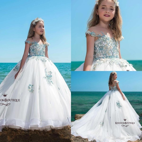 2019 New White Ball Gown Flower Girl Dress Blue Appliqued Off Shoulder Girl Formal Pageant Dresses Girl Birthday Party Comm Gown Custom Made