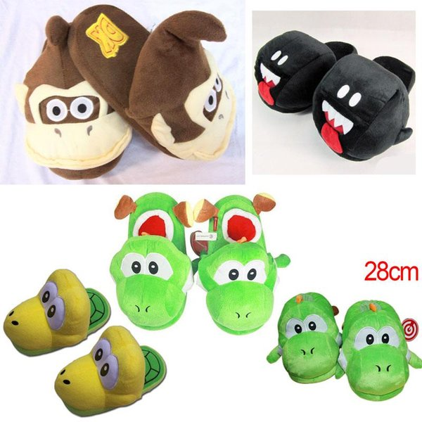 Al por mayor-Super Mario Brothers Green Yoshi Donkey Kong Plush Indoor Slippers Adultos Mujeres Hombres Otoño Invierno Home Slippers SA1580
