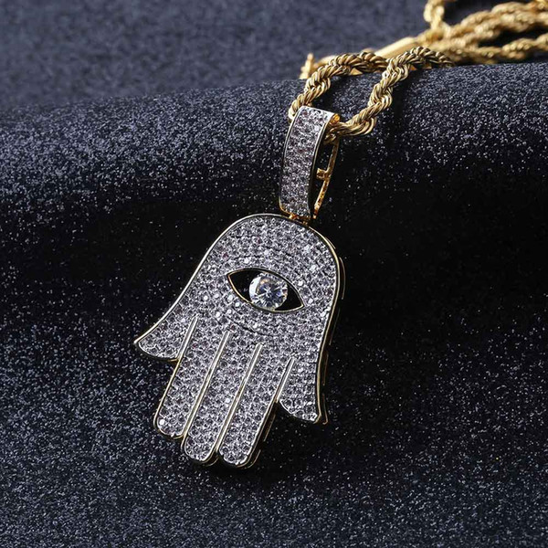 Hiphop Hamsa Hand of Fatima Pendant & Chain Male Gold Color Paved Rhinestones Palm Necklaces for Men Turkish Jewelry