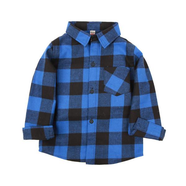best selling Kids Leisure Shirt Neutral Classic Clothes Lapel Button Plaid Shirt Long Sleeve Brushed Cotton Plaid Shirt 61
