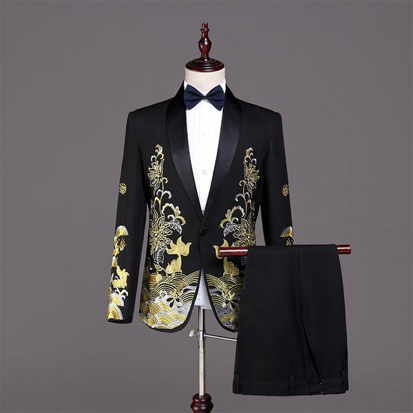 Traje de Halloween Corte europea 2 piezas chaqueta negro trajes trajes bordado de oro delgado de los hombres del cantante trajes de smoking