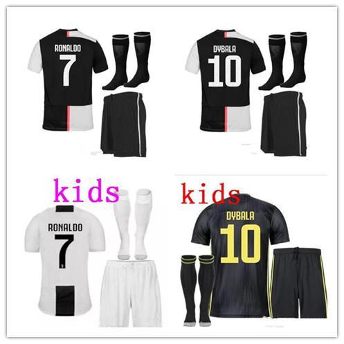 19 20 kids kits +socks JUVENTUS RONALDO home away 3rd Soccer Jersey DYBALA camisetas de futbol Football kit CRISTIANO Jerseys