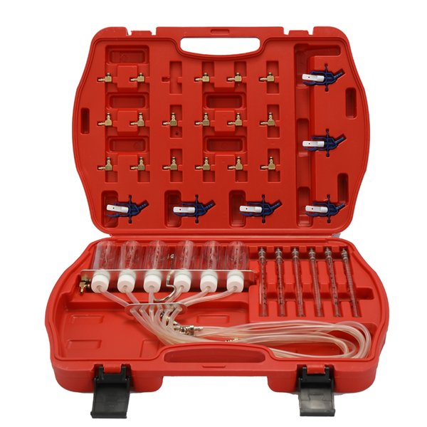 Diesels Accessory Injector Flow Meter Test Tool Kit Common Rail Adaptor Fuel Tester Set 6 Cylinder