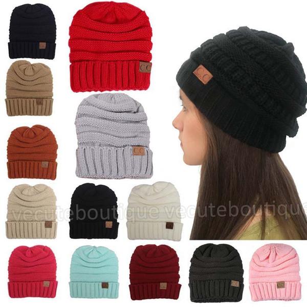 5535ec2168b Fashion Men Women s Hats CC Labeling Beanies Winter Knitted Wool Skull Cap  Unisex Warm Folds Casual