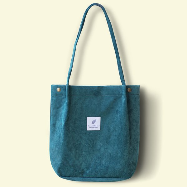 Women Corduroy Shoulder Bag Ladies Casual Eco Tote Handbag Folding Reusable Shopping Bags Purse Female Cotton Canvas Cloth Pouch