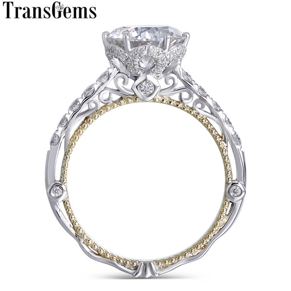 Transgems 14k White And Yellow Gold Center 2ct 8mm F Color Moissanite Diamond Vintage Engagement Ring For Women Bridal Wedding Y19032201