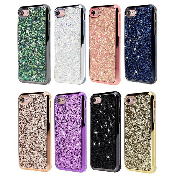Rhinestone cell phone case For Iphone XS MAX XR X 7 8 6 plus tpu pc plated bumper glitter bling cover for samsung S8 S9 plus note 8 9