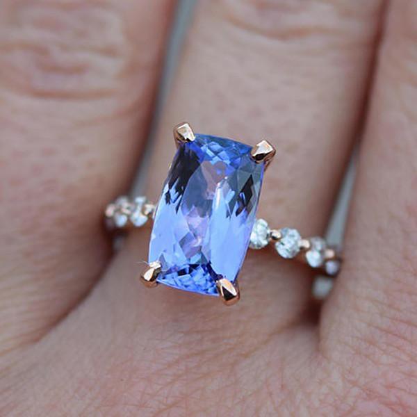 Fashion Simple Blue Crystal Zircon Women Rings Elegant Geometric Stone Finger Rings Women Accessories Jewelry bijoux femme
