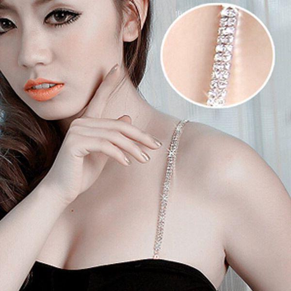 HOT Double row rhinestones body jewelry sexy bra straps 3colors 1pr/lot free shipping