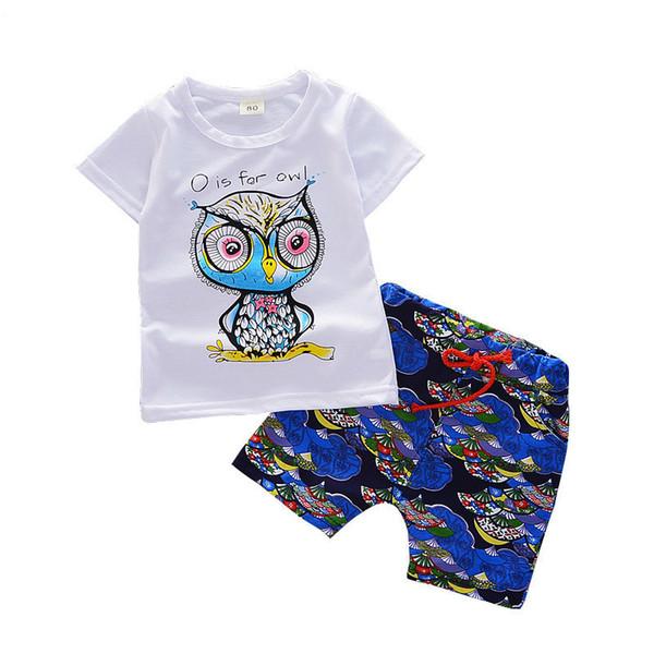 2019 Yaz Bebek Kız Erkek Giyim Setleri Bebek Pamuk Takım Elbise Karikatür Baykuş T Gömlek Şort 0-3 Yıl Çocuklar Için 2 ADET Çoc ...