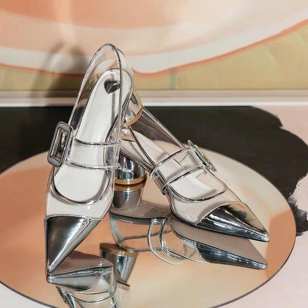 Silber Frauen Pumpt Med Runde Ferse Sexy Hochzeit Kleid Schuhe Air Mesh Frauen Schuhe Gürtelschnalle Design Marke