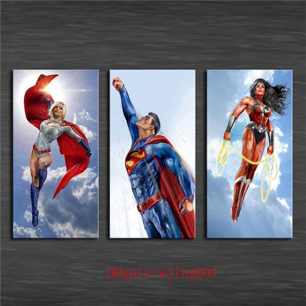 Power Girl Superman Wonder Woman , 3P Canvas Pieces Home Decor HD Printed Modern Art Painting on Canvas (Unframed/Framed) #01