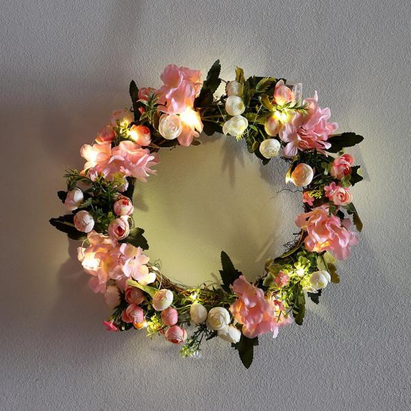 Künstliche Kamelie Hortensie Kranz Simulation Rose Blumen Girlande Dekor Hause Türsturz Kranz mit Glühbirne