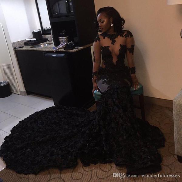 2017 sexy negro vestidos de baile sirena joya cuello hecho a mano rosas flores larga barrido tren partido vestidos de noche