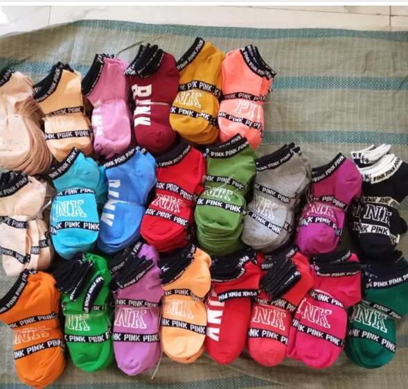 top popular 90PCS Ankle Socks Pink & U & A Men Women's Socks Boys & Girl's Short Sock Outdoors Sports Basketball Cheerleader Socks Multicolors Cotton 2019