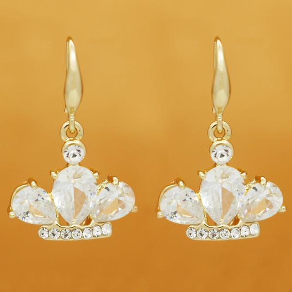 Fashionable female earring alloy zircon crown earring temperament contracted earring wholesale