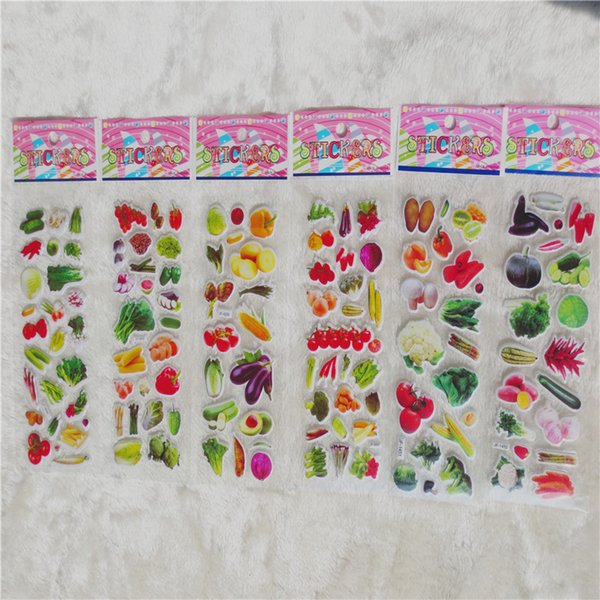 100pcs Real Vegetables Greens Greengrocery Tomatoes Scrapbooking Bubble Stickers Emoji Reward Kids Toys Factory Direct Sales