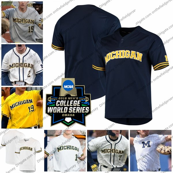 Maillot de baseball CWS 2019 Michigan Wolverines 5 Christan Bullock 7 Jesse Franklin 10 Blake Nelson 12 Riley Bertram 15 Jimmy Kerr S-4XL