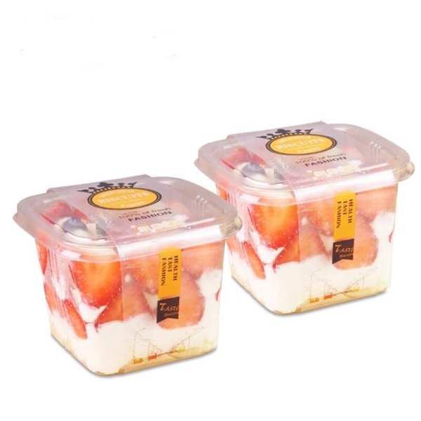 Clear Cake Box Container Transparent Cream Cake Plastic Package Box with Lid Cheese Ice Cream Fruit Mousse Packaging Box LX6994