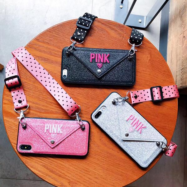 Lujo PINK Brillo Funda de cuero bordado para iPhone 7 7 Plus Fashion Wave Point Lanyard Case para iphone XS Max X 8 6 6 s Plus