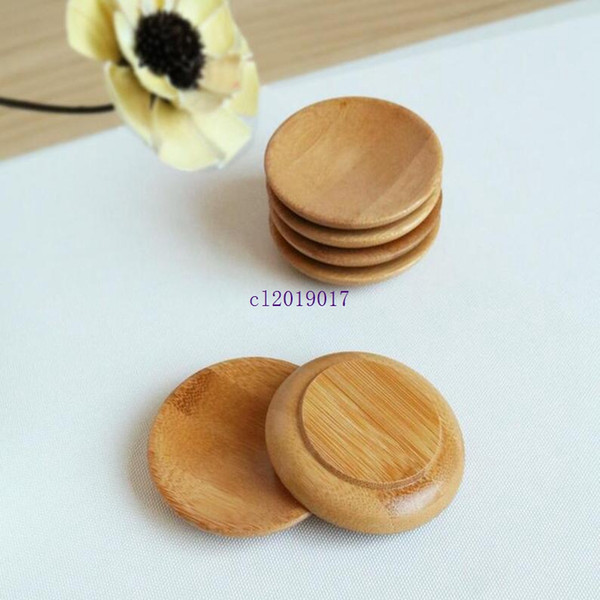 200pcs Creativity natural bamboo small round dishes Rural amorous feelings wooden sauce and vinegar plates Tableware plates tray