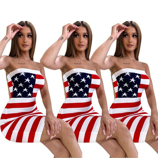 Star US Flag Bodycon vestidos bodycon vendaje vestidos 2019 diseñador diseñador Sexy Strapless Stripes Tube Falda club nocturno vestidos ropa C71202