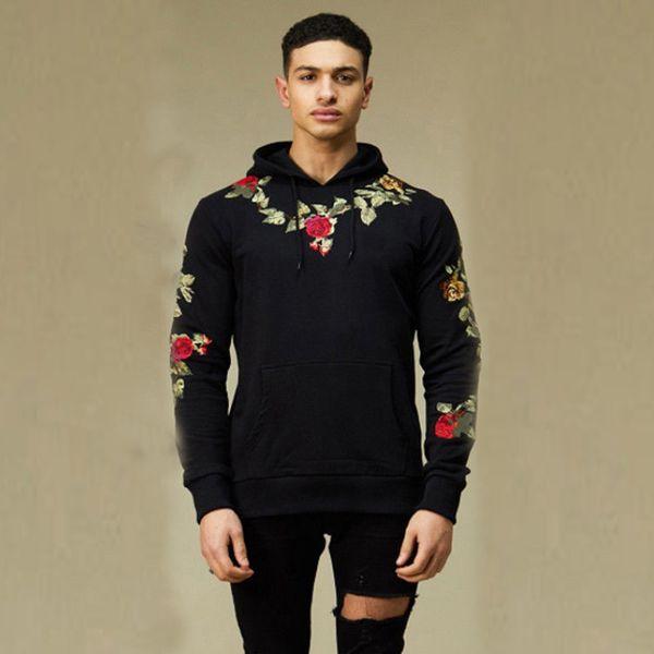 Männer Stickerei Floral Mit Kapuze Pullover Hoodies High Street Mode Baumwolle Hip Hop Schlank Streetwear Oansatz Hoodie Herbst