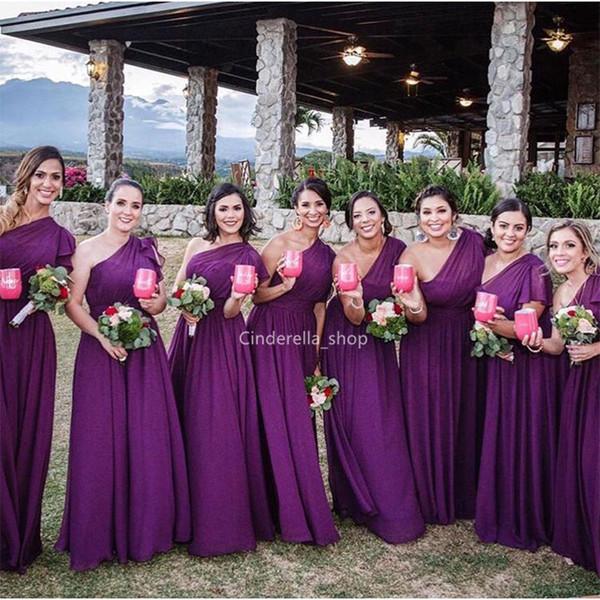 Vestidos largos de dama de honor de gasa púrpura de Western Country 2019 Un hombro Boho Vestidos de fiesta de boda de verano Vestidos de invitados de boda hechos a medida