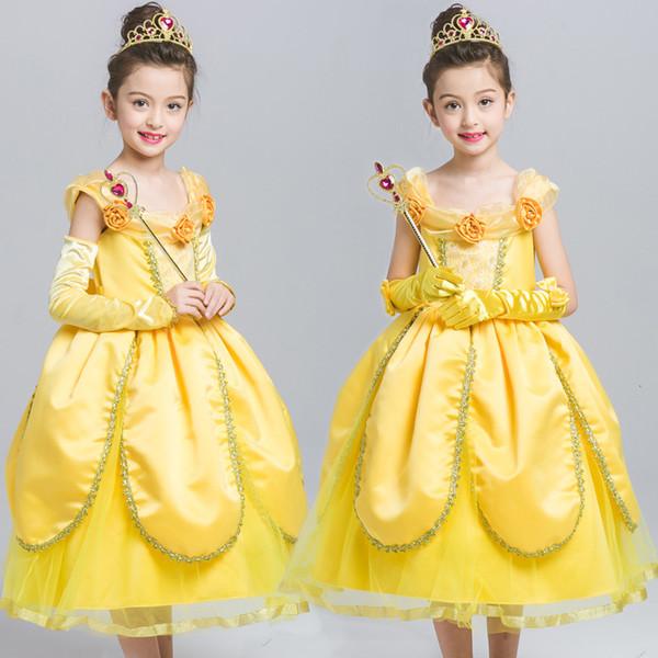 Vestiti per bambini 2019 Belle principessa Skirt vestito pieno dal vestito della ragazza di Halloween Mostra Abbigliamento