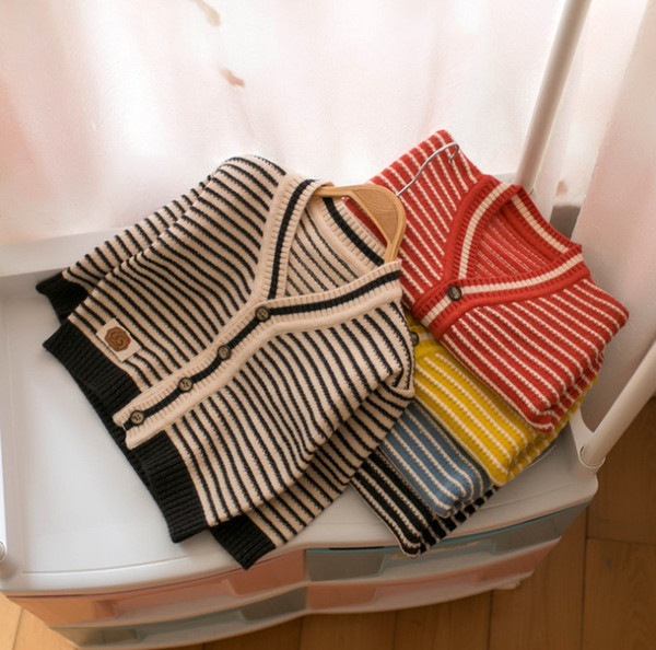 Boys cardigan kids stripe knitted casual outwear children V-neck long sleeve sweater cardigan 2019 fall new baby girl clothes F8899