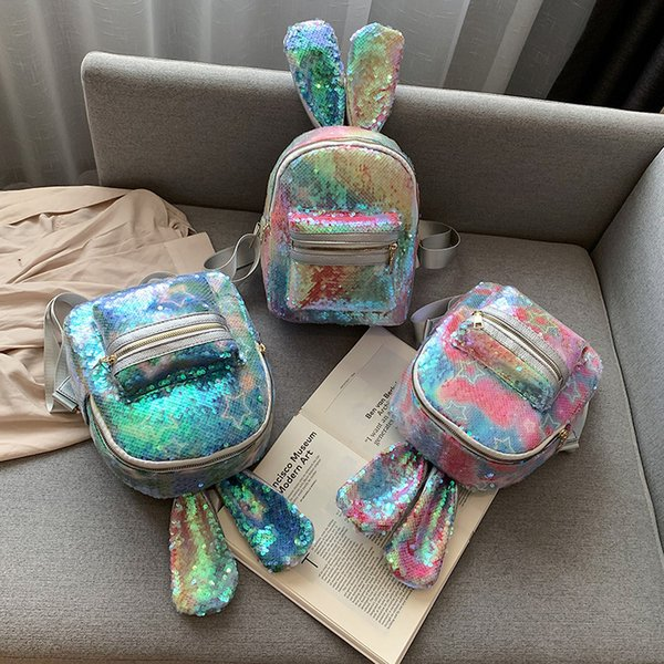 Sequin rabbit backpack star Outdoor sports colorful backpack travel school stuff bags student fashion baby girl storage bags FFA2781-1