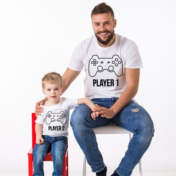 Parent Clothing Game Machine Print Cute Tshirts Crew Neck Short Sleeve Fashion Casual Apparel White Homme Tees