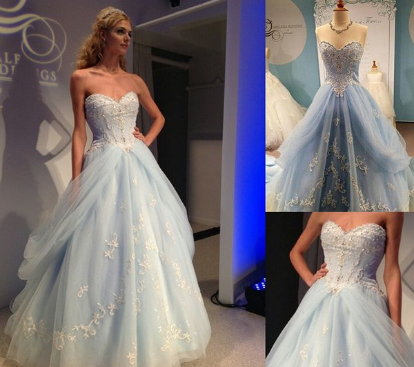 2019 Cinderella Light Blue Prom Dresses Sweetheart Strapless Lace Applique Beaded Formal Evening Gowns 15 Year Sweet 16 Dress back zipper