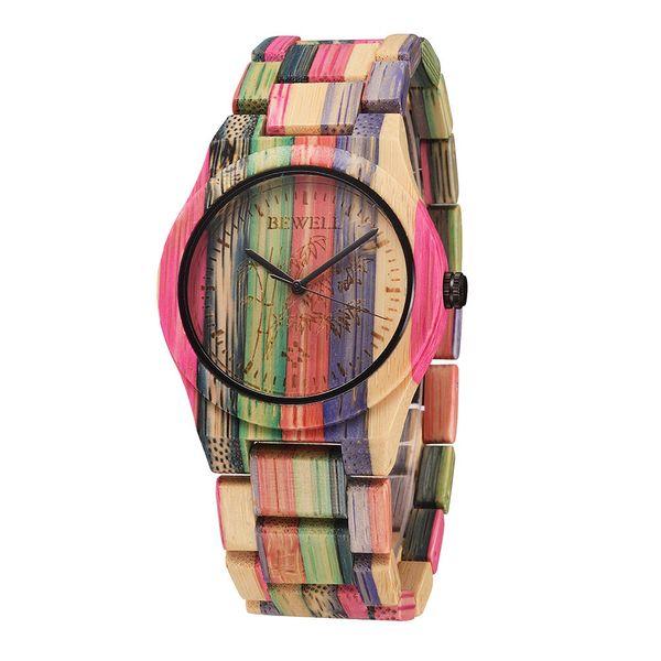 Bewell Women Watches Top Brand Luxury Watch Women Quartz Men Wooden Bamboo Wristwatch Ladies Watches Clock Relogio Feminino J 190505