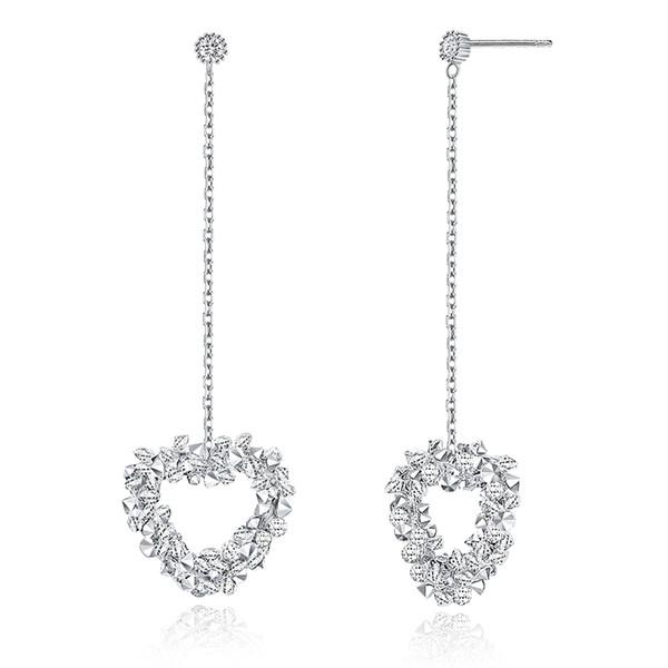 Pendientes de plata de ley con forma de corazón de cristal S925 Diamante I Love U Unique Eardrop DangleChandelier Dangler Pendientes de botón de joyería POTALA284