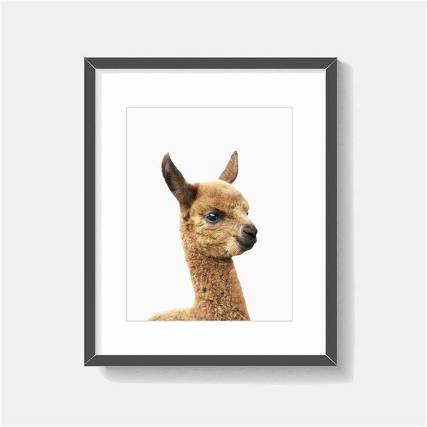 Le bébé Lama Minimaliste Animal Art Toile Peinture HD Mur Image Affiche Et Imprimer Décoratif Décor À La Maison