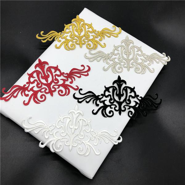 Ventes chaudes Flux Fleurs Tissu Patch De Broderie Beau Design Or Dentelle Applique Garniture Pour Robes Accessoires