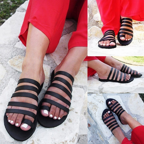 New Summer Flats Slippers Women Roma Beach Flip Flops Open Toe Black Slides Big Size Ladies Shoes Zapatos Mujer Chaussures Femme